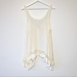 Free People sheer ivory shark bite tunic top